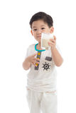 Cute asian boy drinking milk Stock Images