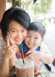 Cute asian boy and his aunt Royalty Free Stock Photos