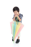 Cute asian boy in sailor uniform holding umbrella Royalty Free Stock Photography