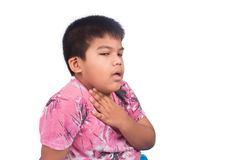 Cute asian boy sore throat. On white background Royalty Free Stock Photography