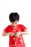 Cute Asian Boy In Tradition Chinese Cheongsam Isolated On White Royalty Free Stock Photos