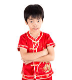 Cute Asian Boy In Tradition Chinese Cheongsam Isolated On White Royalty Free Stock Images