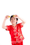 Cute Asian Boy In Tradition Chinese Cheongsam Stock Photos
