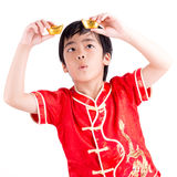 Cute Asian Boy In Tradition Chinese Cheongsam Stock Photography