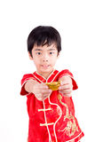 Cute Asian Boy In Tradition Chinese Cheongsam Royalty Free Stock Photo