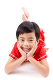 Cute Asian Boy In Tradition Chinese Cheongsam Royalty Free Stock Photos