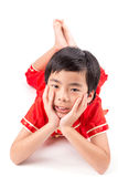 Cute Asian Boy In Tradition Chinese Cheongsam Stock Images