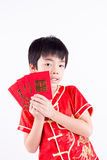 Cute Asian Boy In Tradition Chinese Cheongsam Isolated On White Royalty Free Stock Photography