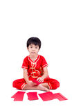 Cute Asian Boy In Tradition Chinese Cheongsam Isolated On White Stock Image