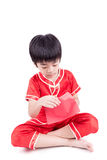Cute Asian Boy In Tradition Chinese Cheongsam Isolated On White Stock Photos