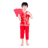 Cute Asian Boy In Tradition Chinese Cheongsam Isolated On White Stock Images