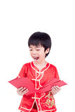 Cute Asian Boy In Tradition Chinese Cheongsam Isolated On White Stock Photography
