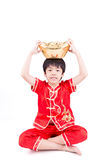 Cute Asian Boy In Tradition Chinese Cheongsam Isolated On White Royalty Free Stock Photo