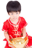 Cute Asian Boy In Tradition Chinese Cheongsam Isolated On White Royalty Free Stock Image