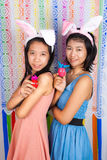 Cute Asian bunny girls Royalty Free Stock Images