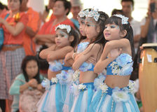 The cute Asian cheerleaders of students show in sports day Stock Image