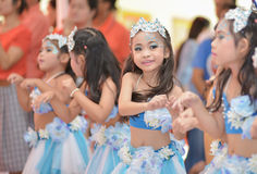 The cute Asian cheerleaders of students show in sports day Royalty Free Stock Images