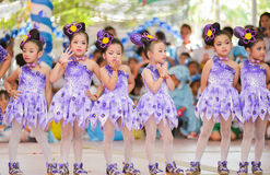 The cute Asian cheerleaders of students show in sports day Stock Images