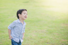Cute Asian chid running Stock Images