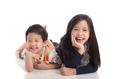 Cute asian children lying Royalty Free Stock Photos