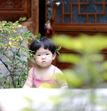 Cute Asian Chinese baby girl play in a garden Royalty Free Stock Photography