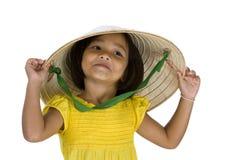 Cute asian farmer girl on white Stock Photo