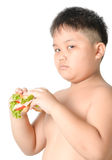 Cute asian fat boy bored to eating sandwich isolated Stock Images