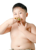 Cute asian fat boy eating sandwich isolated. On white Stock Photography