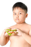 Cute asian fat boy holding sandwich isolated. On white Royalty Free Stock Photo