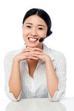 Cute asian female as help desk operator Stock Photos