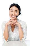 Cute asian female as help desk operator Stock Photos