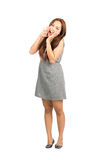 Cute Asian Female Making Announcement Hands Full Stock Photos
