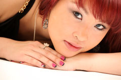 Cute Asian Girl 80s Style Royalty Free Stock Photos