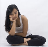 Cute asian girl on  background meditating Royalty Free Stock Photos