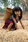 Cute Asian Girl With Basket. Cute asian girl from Thailand with small basket Royalty Free Stock Photo