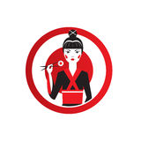 Cute Asian Girl Character on black kimono holding sushi with chopstiks. Round logo of sushi bar Royalty Free Stock Photography