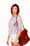 Cute asian girl with document bag Royalty Free Stock Photo
