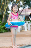 Cute Asian girl enjoy to swimming Royalty Free Stock Images