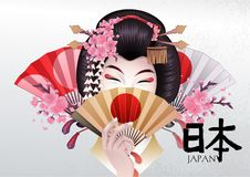 Cute asian girl with hand fans. Cute asian girl hiding her face under the golden fan. Vector portrait of young woman with traditional japanese hairstyle Royalty Free Stock Images