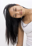 Cute funny asian girl on isolated background smiling Royalty Free Stock Photography