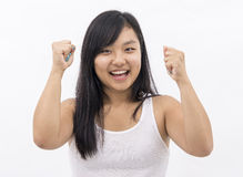Cute asian girl happy cheering on isolated background Stock Image