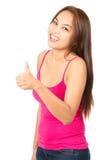 Cute Asian Girl Next Door Thumbs Up Casual Stock Images