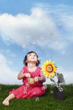 Cute Asian girl plays with bubbles Stock Photo