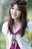 Cute asian girl portrait. A cute asian girl portrait in park Stock Images