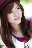Cute asian girl portrait. A cute asian girl portrait in park Royalty Free Stock Photo