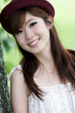 Cute asian girl portrait. A cute asian girl portrait in park Stock Photos