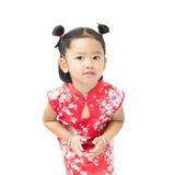 Cute asian girl in red chinese dress isolated on the white backg Royalty Free Stock Images