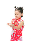Cute asian girl in red chinese dress isolated on the white backg Royalty Free Stock Photography