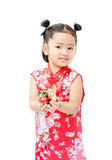 Cute asian girl in red chinese dress Royalty Free Stock Image