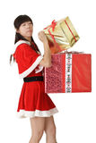 Cute Asian girl in santa clothes Royalty Free Stock Images